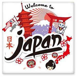 DIYthinker Bienvenue au Japon Culture Rouge Carte Fille Noire Lucky Cat Fuji Temple du Soleil Archway Carpe Sakura Illustration Motif céramique Bisque Carreaux pour décorer Salle de Bains Décor de c