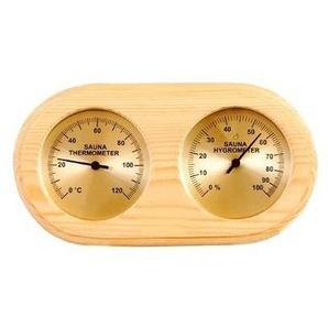 Thermomètre , Hygromètre SAWO en Pin pour sauna fond doré - DESINEO