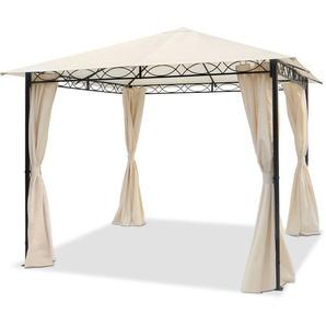 Pavillon de Jardin tonnelle étanche 3x3 m avec Tente de Jardin 4 côtés 180 g/m², Couverture de Toit en Tente de réception Beige - INTENT24.FR
