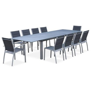 Salon de jardin table extensible - Odenton Gris - Grande table en aluminium 235/335cm et 10 assises en textilène - ALICES GARDEN