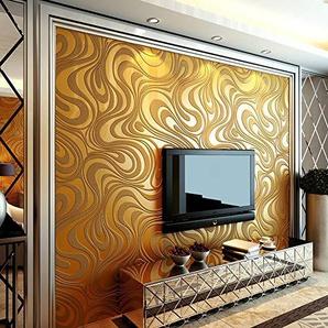 Papier Peint Ligne Minimaliste 3D Motif De Courbe Abstraite Mousse Non Tissée épaisse En Trois Dimensions Décoration Pour La Maison,Gold,70cm*8.4m