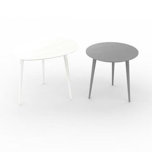 Tables basses gigognes - Gris, ovale/ronde, design scandinave, set de 2 tables basses - 67/50 x 50/47 x 50/50 cm, personnalisable