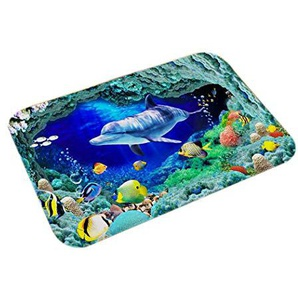pairris Tapis de Sol imprimé World Underwater Coussin en Flanelle Tapis de Salle de Bain Cuisine antidérapant Ensembles de Tapis