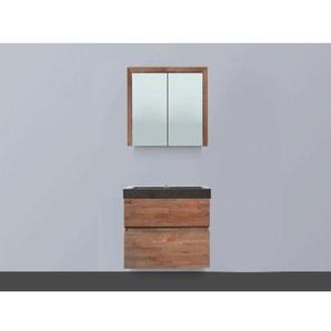 Saniclass Natural Wood Meuble avec armoire miroir 60cm modèle suspendu Grey Oak avec vasque en pierre naturelle Black Spirit 1 trou pour robinetterie