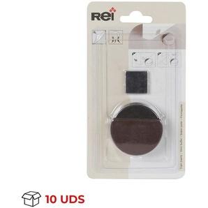 Boîte avec 10 Conserver la porte avec la marque REI aimant adhésif, de style moderne, en finition marron et plastique.