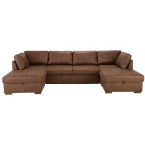Canapé-lit panoramique 7 places en microsuède marron Times square