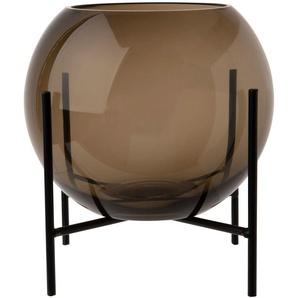 Vase boule en verre teinté gris sur pieds en métal noir H21