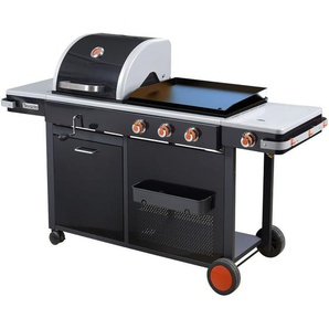 BRASERO - Barbecue Bi-Energy - 1 barbecue charbon - 1 plancha à gaz - 1 brûleur latéral