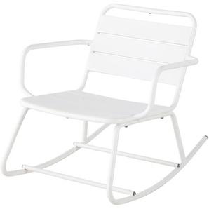 Rocking chair dextérieur en métal blanc Batignolles