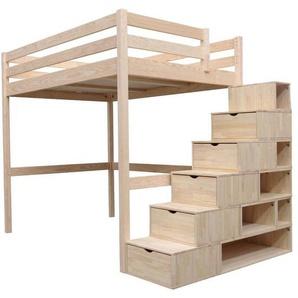 Lit Mezzanine Sylvia avec escalier cube bois 160x200 Brut