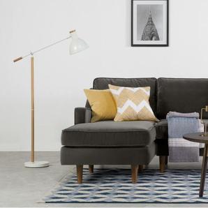 Dallas, canapé d'angle avec méridienne à gauche, velours de coton gris ciment
