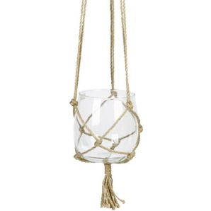 Suspension Boule en verre à suspendre - Avec corde en chanvre - Ø 15 cm - Blanc transparent