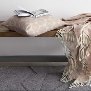 Hexa, plaid en laine mélangée, 130 x 170 cm, rose
