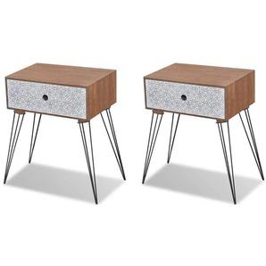 Table de nuit chevet commode armoire meuble chambre avec tiroir 2 pcs marron - Marron - HELLOSHOP26