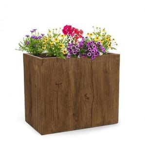 Blumfeldt Timberflor Bac à fleurs 70 x 60 x 40 cm fibre de verre - marron