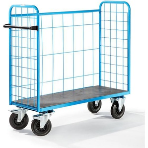 EUROKRAFT Chariot universel à tablettes, force 500 kg - grillagé sur 3 côtés - dim. ext. 1420 x 500 x 1300 mm