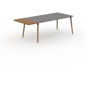 Table à manger - Gris, design scandinave, pour salle à manger ou cuisine nordique, table extensible à rallonge - 220 x 75 x 90 cm