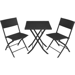 Salon de jardin TREVI Résine tressée 2 Personnes, 2 Chaises et 1 Table pliantes Noir - TECTAKE