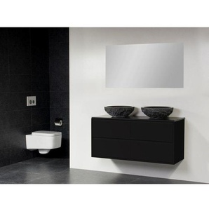 Saniclass New Future Corestone13 Meuble salle de bain avec vasque à poser martelé 120cm avec miroir noir