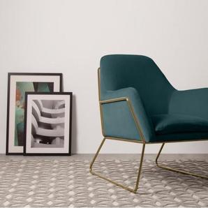 Frame, fauteuil, velours bleu pétrole et cadre doré