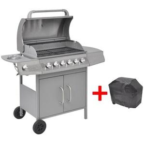 Barbecue à gaz 6 + 1 zone de cuisson Argenté - CREARTIVE DESIGN