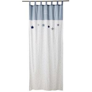 Rideau à passants en coton blanc et bleu imprimé à lunité 110x250