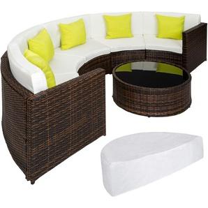 Salon de jardin COLISEUM - 1 Canapé, 1 Table en Résine Tressée et en Aluminium + 5 Oreillers + 1 Housse de protection Marron - TECTAKE