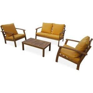 Salon de jardin en bois 4 places - Ushuaïa - Coussins moutarde, canapé, fauteuils et table basse en acacia, design - ALICES GARDEN