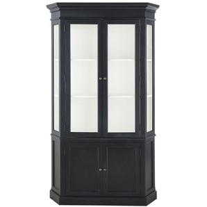 Vitrine 2 portes noire et verre trempé Cambronne