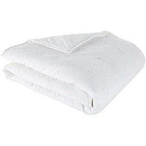 Boutis en coton blanc brodé motif floral 100x200