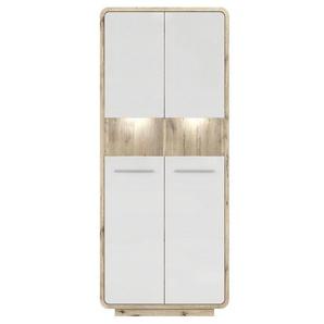Vitrine 2 portes blanc et aspect chêne Brogen