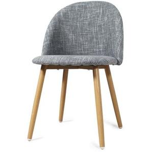 Chaise scandinave gris clair piétement rétro