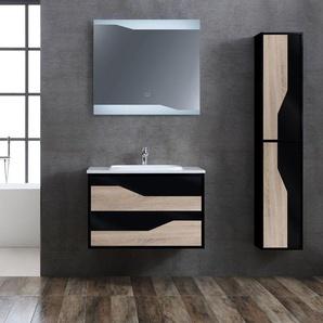 Meuble de salle de bain simple vasque URBINO 800 Scandinave et Noir - DISTRIBAIN