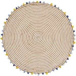Tapis en coton et jute et pompons multicolores D100