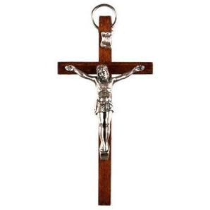 Petit Bois Marron Crucifix. Croix de Bois de 8cms de Haut. Christ sur la Croix
