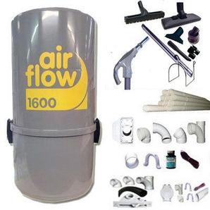Aspirateur central AIRFLOW 1600 garantie 2 ans (jusquà 300 m²) + trousse inter 9 ML + 8 accessoires + kit 3 prises + kit prise balai + kit prise garage
