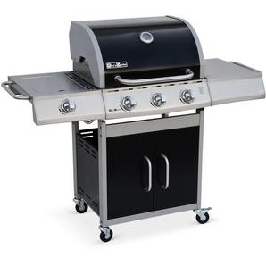 Barbecue au gaz Richelieu noir, 4 brûleurs dont 1 feu latéral 14kW, côté grill et plancha - ALICES GARDEN