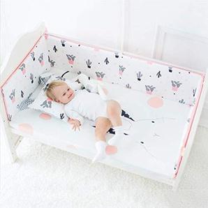 Relaxbx Protège-Pare-Chocs pour lit de bébé, 100% Coton, Conception réversible, Rembourrage de Protection Confortable avec Attaches de sécurité, 1 120X30cm3pcs