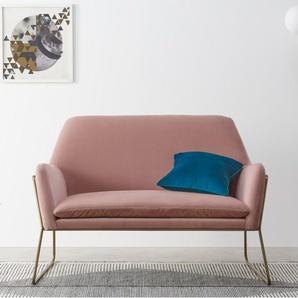 Frame, causeuse, velours rose blush et laiton