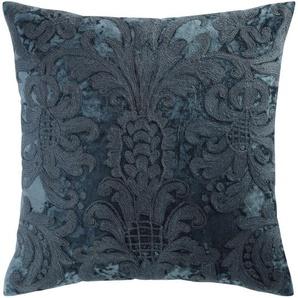 Coussin en velours et laine brodé bleu 45 x 45 cm PERUGE