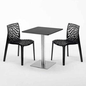 Table carrée 60x60 pied acier et plateau noir avec 2 chaises colorées GRUVYER PISTACHIO | Noir - GRAND SOLEIL