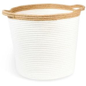 Panier tressé blanc H 33 cm COCOON
