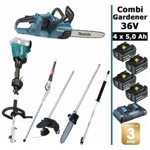 Pack 36V Combi Gardener: outil multifonction 36V avec 4 accessoires + tronçonneuse 36V 35cm + 4 batt 5Ah MAKITA DUX60 DUC353