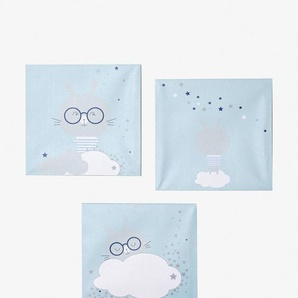 Lot de 3 toiles lapins bleu