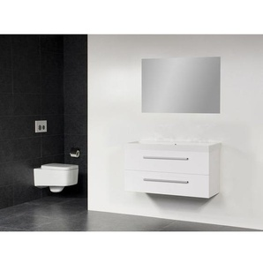 Saniclass Rome Meuble salle de bain avec miroir 120cm Blanc brillant SW7042