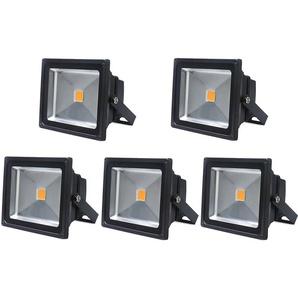 5×Auralum 50W Projecteurs LED Spot LED Lampe IP65 Étanche Lumière Blanc Chaud 3000K Couleur Noir
