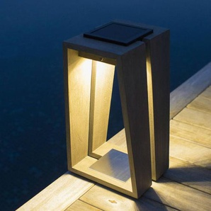TINKA TECKA-Lanterne dextérieur LED rechargeable & solaire Bois H39cm teck gris Les Jardins