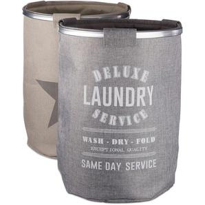 Panier à linge set de 2 gris beige en tissu sac à linge pliable vintage étoile corbeille H x Ø: 60 x 45 cm 80 litres lin - RELAXDAYS