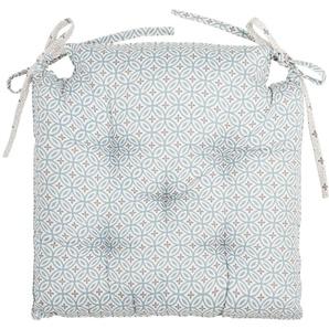 Galette de chaise écrue à motifs bleus et gris