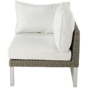 Accoudoir droit de canapé de jardin en résine tressée blanc Lodge